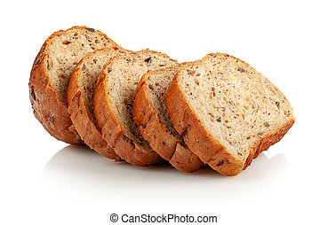 Slices of bread on a white background