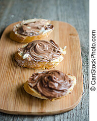 Slices of bread with chocolate cream