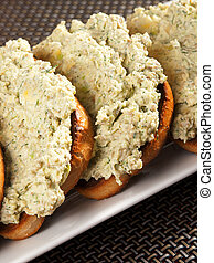 Slices of bread with dip