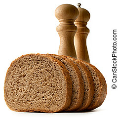 Slices of bread with salt and pepper set