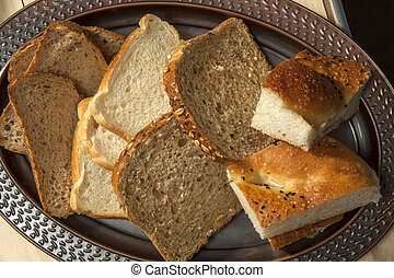 slices of breads close up