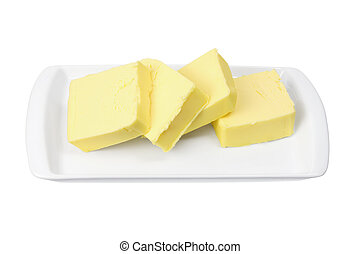 Slices of Butter on Plate on White Background