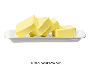 Slices of Butter on White Background