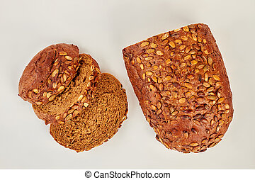 Slices of cereal bread, top view.