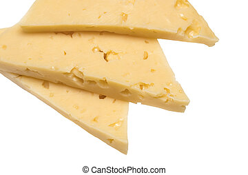 slices of cheese isolated on white background