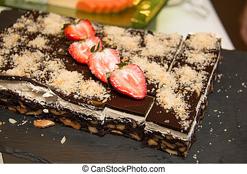 Slices of Chocolate Nut Brownies