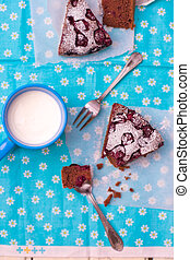slices of chocolate pie with cherry