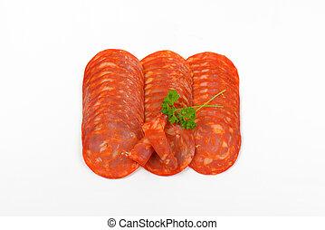 slices of chorizo salami