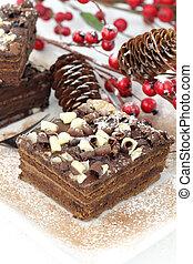 Slices of Christmas chocolate cake