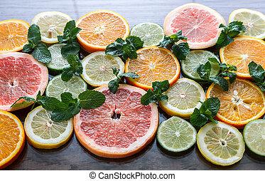Slices of citrus fruits