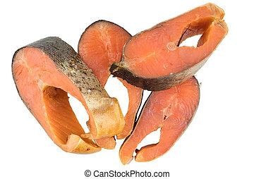 Slices Of Cold Smoked Pink Salmon Or Humpback Salmon Isolated On White Background, Close Up