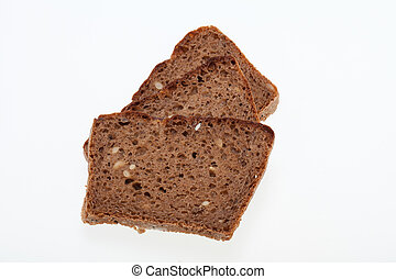 Slices of dark bread isolated over white