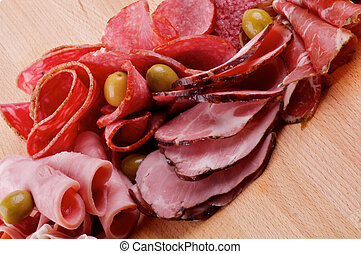 Slices of Delicatessen with Ham, Pepperoni, Chorizo and...