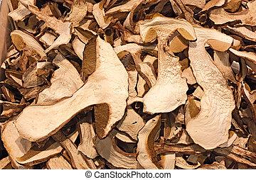 slices of dried porcini mushrooms, edible boletus edulis, on display in the italian market