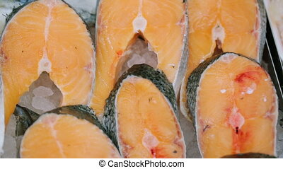 Slices of fish at grocery store