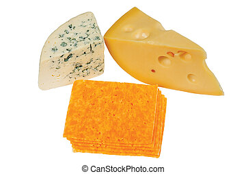 Slices of fresh cheese of different varieties on a white ...