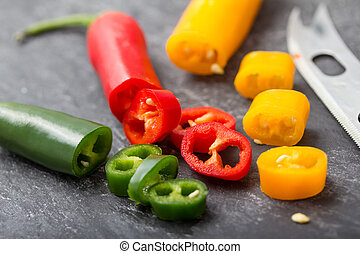 slices of fresh chili peppers