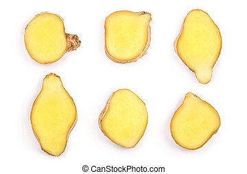 slices of fresh Ginger root isolated on white background. Set or collection