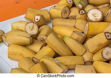 Slices of Fresh Juicy Yellow Banana