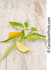 Slices of fresh lemon with leaves on a wooden background.