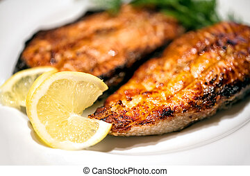 Slices of fried red fish