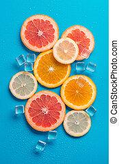 slices of grapefruit orange and lemon