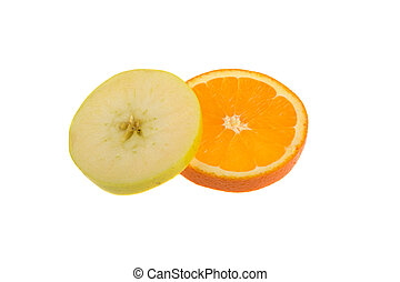 slices of green apple and orange isolated on white background