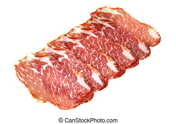 Slices of ham isolated over white background