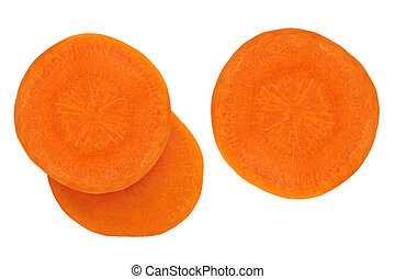 Slices of juicy carrots on a white background.