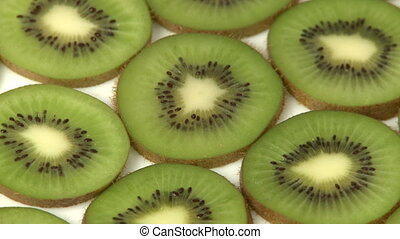 Slices of kiwi fruit closeup