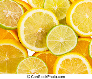 Slices Of Lemon, Lime and Orange - Slices of lemon, lime and...