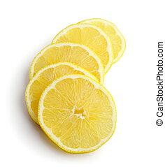 slices of lemon on white background