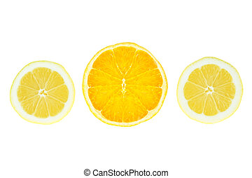 Slices of lemon orange on a white background.
