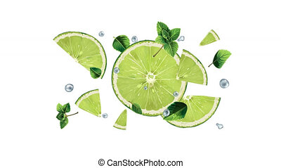 Slices of lime in flight in slow motion on the alpha channel.