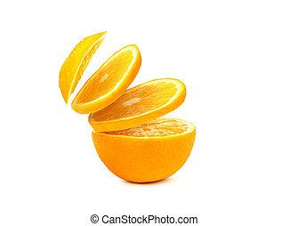 slices of orange close-up, isolated on white background