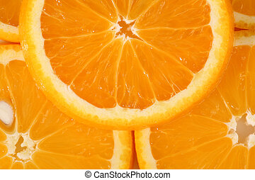 Detailed view on slices of orange