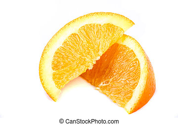 Slices of orange isolated on a white background