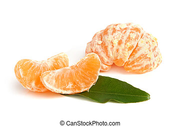 Slices of peeled tangerine