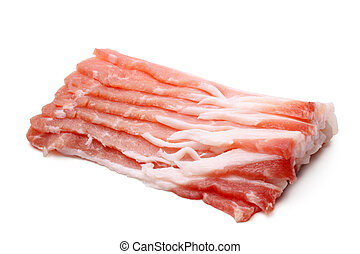 Slices of pork bacon on white background