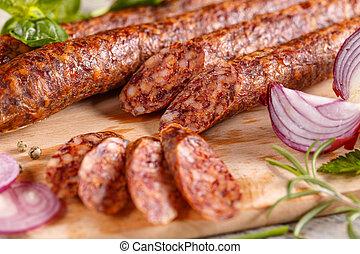 Slices of pork salami