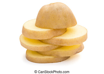 slices of potato stack up on white with clipping path