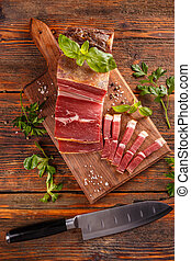 Slices of prosciutto