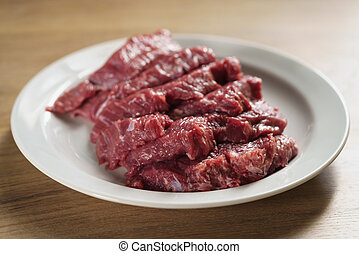 slices of raw beef in white plate on kitchen table