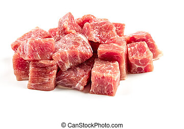 slices of raw beef