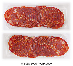 Slices of red chorizo on the package
