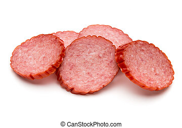 Slices of salami. Isolated on a white background.