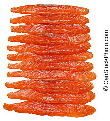 slices of salmon isolated on white