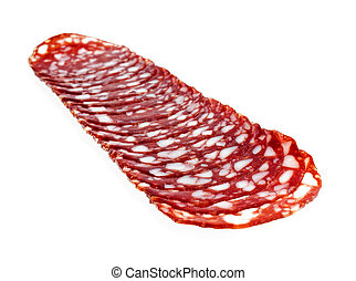 Slices of sausage isolated on a white background