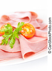 Slices of tasty ham