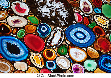 polished agate - Slices of the colorful polished agate...